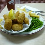 Scampi, Peas and Chips