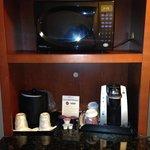 The microwave/coffee station