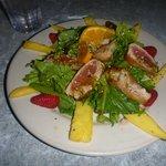 Fabulous seared tuna salad with mango, pineapple, and strawberries