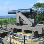large gun inside fort