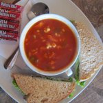 Delicious soup and sandwich