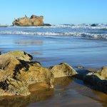 The rocks on the beach.