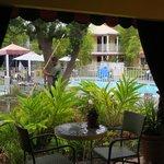 View of pool from restaurant veranda