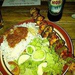 Croc skewer and a cold Mosi at Cafe Zambezi.  Yum!