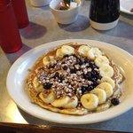 Zydecko pancake, blueberries & bannanas