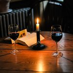 Wine in the bar by candle light