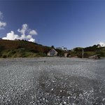 A panorama of the Porthkerris Dive Centre, looking up the beach. Taken on 12th October 2012.