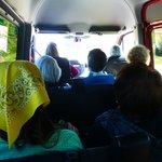 sitting in the cramped van