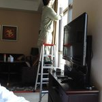 fixing the curtain pole that fell off suddenly