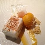 Toasted marshmallow with mango sorbet... delicious!