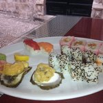 Oysters and freshly prepared sushi...yum!