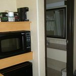 Fridge, microwave, coffee maker, bathroom