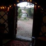 Looking out of the yurt doorway