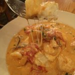 Shrimp and grits. Look at that cheese!