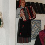 The accordion player from the folkloric group.