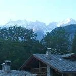 Over the chalet rooves to Mt Blanc