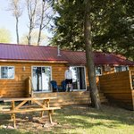 The back view of our cabin with porch