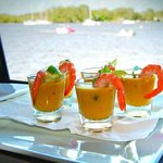 Spicy pumpkin and prawn soup shots