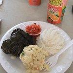 pork lau lau, macaroni salad, and white rice