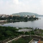 Part of view of Udaipur and Lake Pichola from new Rooftop Terrace of Sargam Sadan Hotel, Udaipur