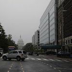 The hotel is on the right looking down through the rain to the Capitol.