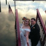 The lovely newlyweds on the bow.