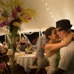 Our first dance under the much appreciated tent
