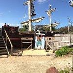 The pirate ship in the mini golf course at Maru Koala Park