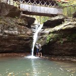 Water fall with covered bridge
