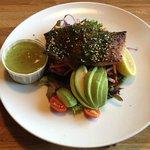 The seaweed encrusted king salmon salad