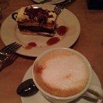 Latte and best tiramisu!