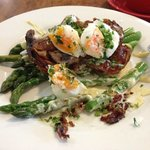asparagus, panchetta, soft eggs and lemon dressing