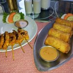 chicken satay and spring rolls