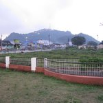 View of the Mata Balmeswari temple(hill) from the Dongargarh railway station. A walkable