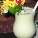 Pina Colada and fresh flowers