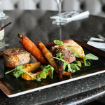 grilled lamb rump with slow braised lamb shoulder, dauphinois potatoes, roast butternut squash p