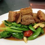 Fried mixed vegetable with crispy pork