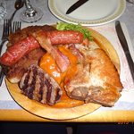Meat Platter for ONE!  Filet, Veal Cutlet, Pork Chop, Cabbage Roll and Bacon, Smoked Sausage