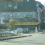 View of Sarah's Cafe from our car after crossing Sheepscot Bridge.