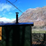 view of the Langdale Pikes from my herdy hut