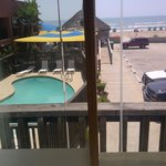 View from Room looking at pool area.