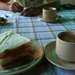 morning chai with veg sandwich