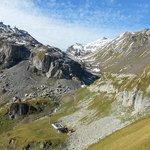 Birg (left), Schilthorn Hut (right) and valley toward Schilthorn summit