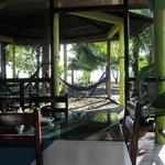 Dining area and hammocks.