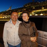 Our last goodbye to Julia and Vladimir outside our ship - the beautiful Vision of the Seas.