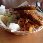 Fish and chips! Funny tasting coleslaw. Avoid!