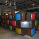 Reception area made from old TVs