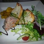 home made piccalilli with ham terrine and toasted ciabata