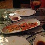 salmon carpaccio and white sangria