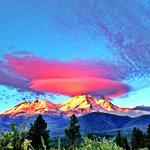 Sunset on Mount Shasta on a walk to nearby Sisson Meadow